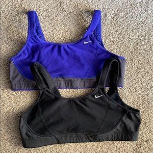 Two Nike Dri Fit sports bras